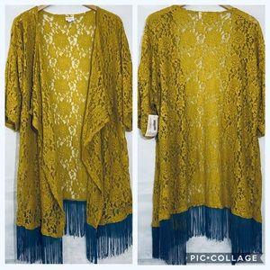 LuLaRoe Monroe Lace Fringe Kimono